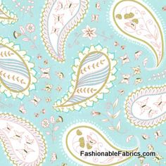 Fabric... Bella Butterfly Pretty Paisley in Aqua by Patty Sloniger