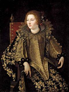Gentileschi, Orazio (1563-1639) - Portrait of a Lady in Gold Embroidered Elaborate Costume