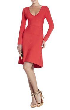 V-Neck Red Dress.