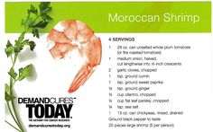 Moroccan Shrimp Recipe – Healthy Eating Made Easy!  What you eat affects your lifestyle. Here is a wonderful recipe for Moroccan Shrimp that combines tomatoes, ginger, onions and chickpeas for a flavorful and healthy dinner. This recipe is from the Wholesome Temptations Cookbook, courtesy of Cancer Treatment Centers of America and Rising Tide.