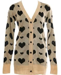 Heart Print Cardigan: Features a V-neckline framed by long ribbed-cuffed sleeves, contrast black heart print covering the front and back, beautifully shiny black buttons cascading down the placket, and a sweet ribbed hem to finish.