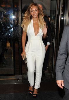 Beyonce in a white jumpsuit