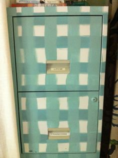 File Cabinet Makeover #diy cabinet makeovers, file cabinet, metal, filing cabinets, black white, brushes, spray painting, stripe, eye