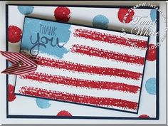 Follow the video tutorial to create this handmade thank you card in patriotic shades of red, white and blue.  DIY flag card
