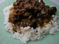 Beef tips over rice