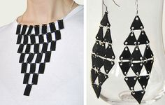 leather scrap necklace earrings