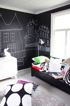 love this entire room chalkboard