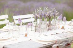 french al fresco, picnic, lavender, bottles, old glass vases, outdoor brunch