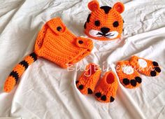 Crocheted Baby Tiger Hat Diaper Cover Mitten & shoe Photo Prop on Etsy, $38.00