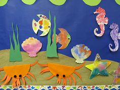 idea, ocean bulletin board, sea creatures, ocean crafts, ocean creatures crafts, preschool bulletin boards, display boards, seahorse preschool craft, ocean school boards