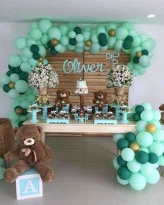 Green balloons for boys baby shower