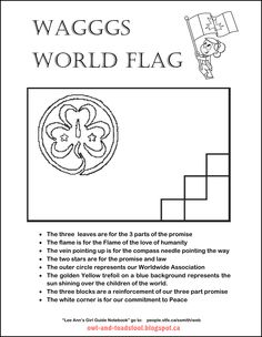 WAGGGS World Flag colouring page. Explains the symbolism of the flag.