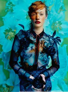 Elle Magazine | blue and green wallpaper | ginger hair | red lipstick | blue and indigo silk shirt