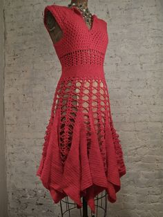 60s Crochet Dress - RED - Hand Made. $75.00, via Etsy.