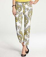 """Paisley Cropped Pants - Rendered in a colorful paisley print, this must-have stretch cotton pair sports a slim cropped silhouette for a fresh take on spring ready style. Contoured waistband. Front zip with double hook-and-bar closure. Belt loops. Back welt pockets. 26"""" inseam."""
