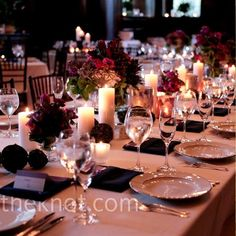 simple tables - flowers and candles