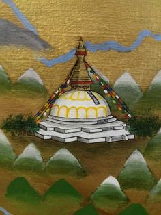 One of the temples from our mural depicting the spread of Buddhism through Asia.
