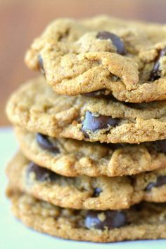 Flourless Almond Butter Chocolate Chip Cookies - With a base of almond butter, and NO butter and NO flour, this is one HEALTHY cookie!