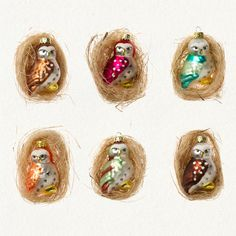 Set of glass owls - cutest!