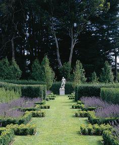 English lavender in a box walk created by Paul Bangay.