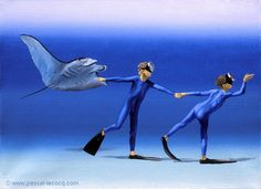 "OLYMPIC GAMES 2012, Aug 10th: Athletics Men's 4x400m relay  pic: ""CO ET DIC 1""  _ Co and Dic 1 - oil on canvas by Pascal Lecocq, The Painter of Blue ®,  9 1/2""x13"" 24 x 33 cm, 2003, lec636, priv.coll.Marseille, France. ©www.pascal-lecocq.com."