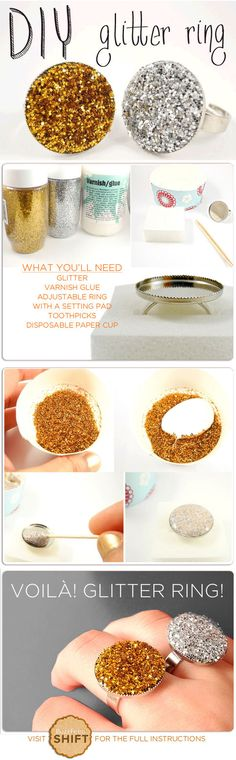 DIY glitter ring #diy #glitter #ring #ohmyglamm we love it! diy ideas, jewelry tutorials, diy tutorial, ring diy, diy jewelry, diy glitter, jewelry ideas, diy rings, glitter ring