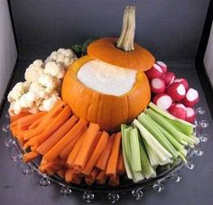 PUT IT IN A PUMPKIN!!! Autumn Veggie Platter  Could also do with caramel and apples. #dip #veggietray #platter #party #snack #pumpkin #halloween #thanksgiving #kids #children #preschool #kindergarten #prek #easy #simple #vegetable #fruit #home #decoration #autumn