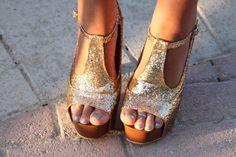 cute gold heels