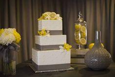gray and yellow wedding decor, lemon centerpieces, a good affair wedding design, simply sweet cakery, gray and yellow cake