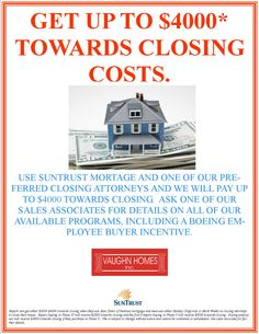 Get up to $4000* towards closing costs on brick homes by Vaughn Homes in Cedar Grove by using SunTrust Mortgage and one of our preferred closing attorneys.  Visit Vaughn Homes open MODEL HOME 1-5PM FRI-WED 5415 Cannondale North Charleston, S  outh Carolina  and talk  to our Coldwell Banker United representative to find out more about our incentive programs.  http://www.realbird.com/feed.aspx?id=D6C1D6C3    North Charleston Boeing Joint Base  South Carolina near Summerville Medical Center