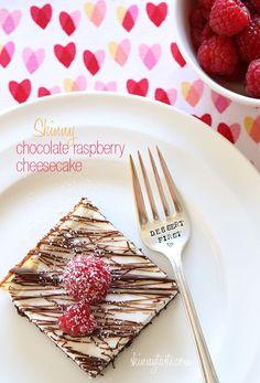 Skinny Chocolate Raspberry Cheesecake - With Valentine's Day right around the corner, you NEED to make this cheesecake! #weightwatchers