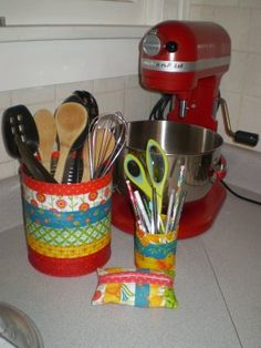 DIY kitchen utensil holder. Need: an upcycled can…any size will do + Mod Podge+ foam brush+ scissors & pliers.