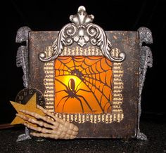 Halloween lantern by @Nicole Eccles made from our 5x5 altered art box - genius idea! #graphic45 #lantern #halloween #DIY