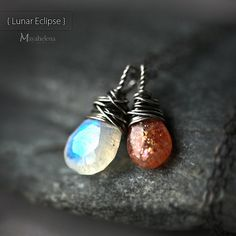 Lunar Eclipse - Moonstone and Sunstone Wire Wrapped Sterling Silver Necklace ♥♥♥