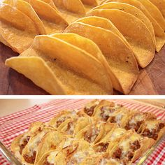 Baked Taco Shells - How to Make Your Own Taco Shells  Working with 6 tortillas at a time, wrap in a barely damp cloth or paper towel and microwave on High until steamed, about 30 seconds. Lay the tortillas on a clean work surface and coat both sides with cooking spray. Then carefully drape each tortilla over two bars of the oven rack. Bake at 375°F until crispy, 7 to 10 minutes.