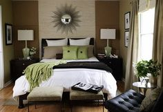 green bedroom with grasscloth