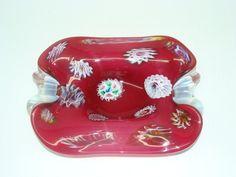Italian Murano ArtGlass Cranberry Color Candy Dish | eBay