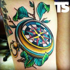 super colorful compass tattoo