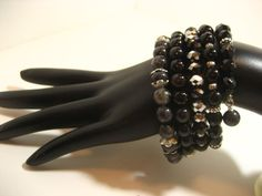 Continuous Wrap Around Memory Wire Bracelet  Black by rockmybeads, $26.00