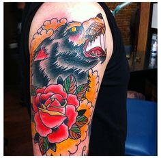Tattoo by Shamus Mahannah @ MTL Tattoo, Montreal. QC  #tattoo #tattoos #color #traditional #wolf #rose