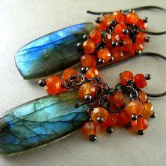 Labradorite and Carnelian Cluster Sterling Earrings