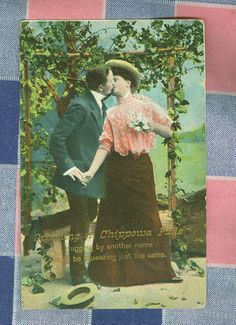 """Spooning in Chippewa Falls..."" (vintage postcard)"
