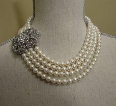 Breakfast at Tiffanys Wedding Necklace Set by AlexiBlackwellBridal, $199.00