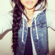 Hoodie and denim vest with braid I can do without the braid but cute outfit! fashion, cloth, style, long hair, outfit, jeans, braids, denim vest, jean jackets
