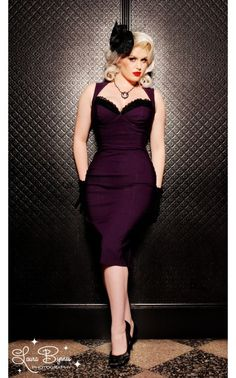 The Masuimi Dress in Deep Plum from Pinup Couture
