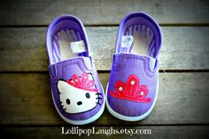 Princess Hello Kitty Hand Painted Girls Shoe on Etsy, $20.00