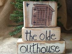 Primitive Country Outhouse The Olde Outhouse Shelf Sitter Wood Blocks
