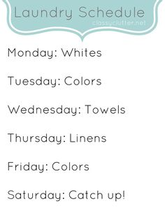 laundri schedul, the weekend, laundry rooms, cleaning schedules, laundry baskets, cleaning tips, spring cleaning, printabl, clean schedul