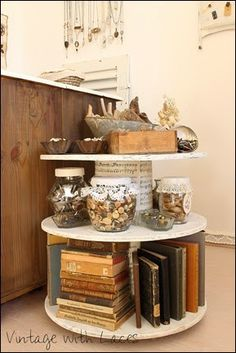 Where Bloggers Create 2014: It's another year! This is from Vintage with Laces and is a double spool shelf thingy. Looks neat! (not that I have room in my space for this)