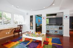 Bright rug for play area in games room